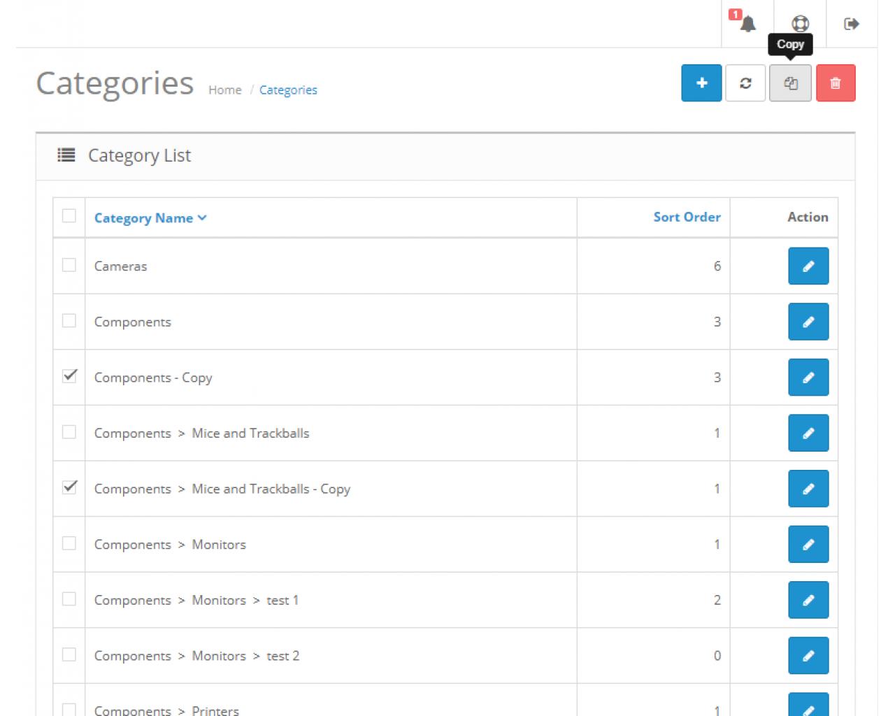 Копирование данных в админке (Категории, Опции, Статьи, Отзывы, Фильтры, Производители)